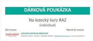 Dárkový poukaz - lezecký kurz RAZ individuál v hodnotě 3900 Kč.