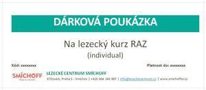 Dárkový poukaz - lezecký kurz RAZ individuál v hodnotě 3500 Kč.